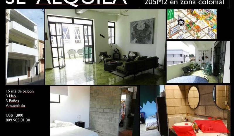 Alquiler apartamento amueblado, con tres dormitorios y terraza en zona colonial